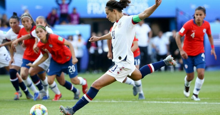 Carli Lloyd of the U.S. women's soccer team attempts a penalty kick during a World Cup match against Chile.