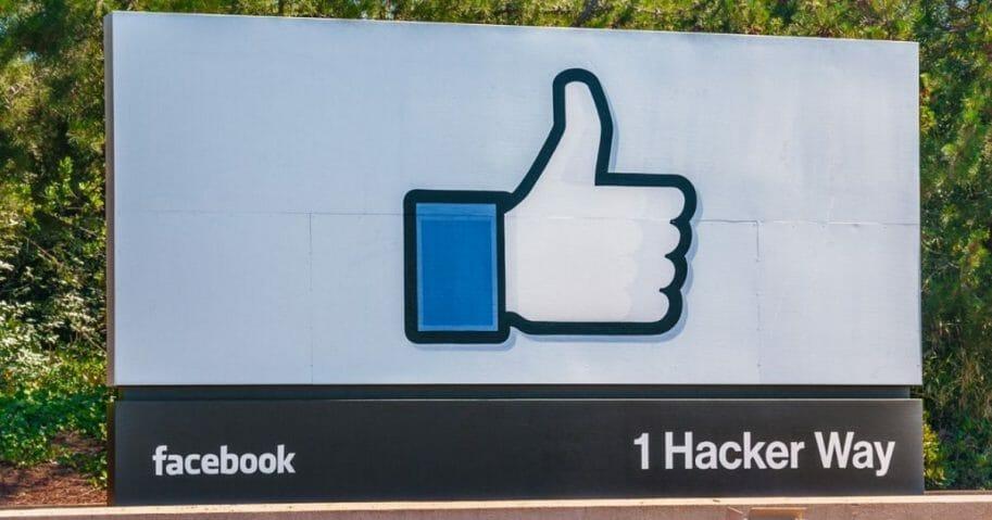 Facebook sign at Menlo Park, California, headquarters.
