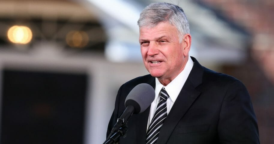 Franklin Graham delivers the eulogy during the funeral of his father, Reverend Dr. Billy Graham, in Charlotte, North Carolina.