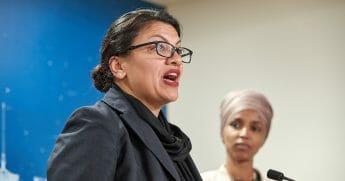 Rep. Rashida Tlaib at Monday's news conference with Rep. Ilhan Omar.