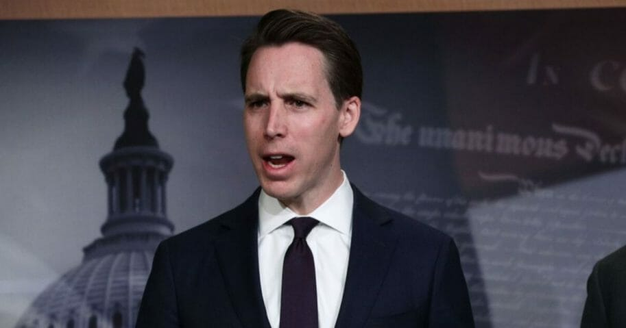 Missouri Sen. Josh Hawley speaks during a news conference at the U.S. Capitol April 2, 2019, in Washington, D.C.
