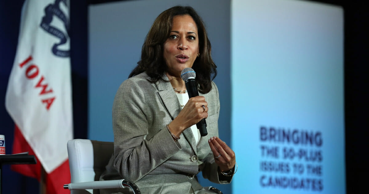 Democratic presidential candidate and Sen. Kamala Harris (D-CA) speaks during the AARP and The Des Moines Register Iowa Presidential Candidate Forum on July 16, 2019 in Bettendorf, Iowa.