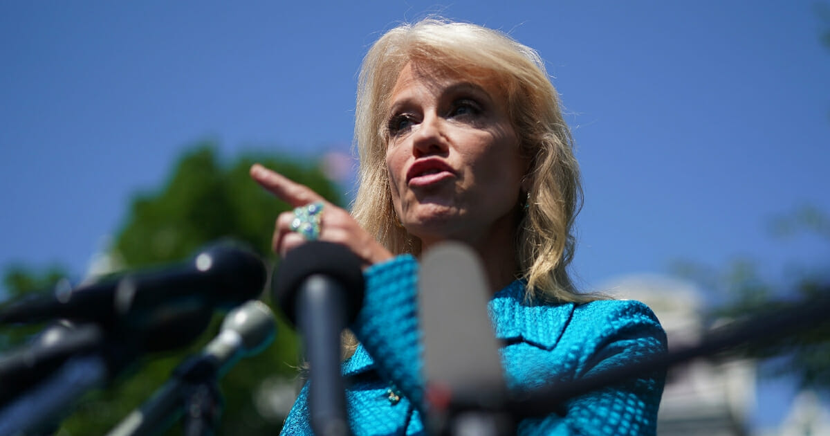 White House counselor to the president Kellyanne Conway talks to reporters outside of the West Wing on July 16, 2019 in Washington, D.C.