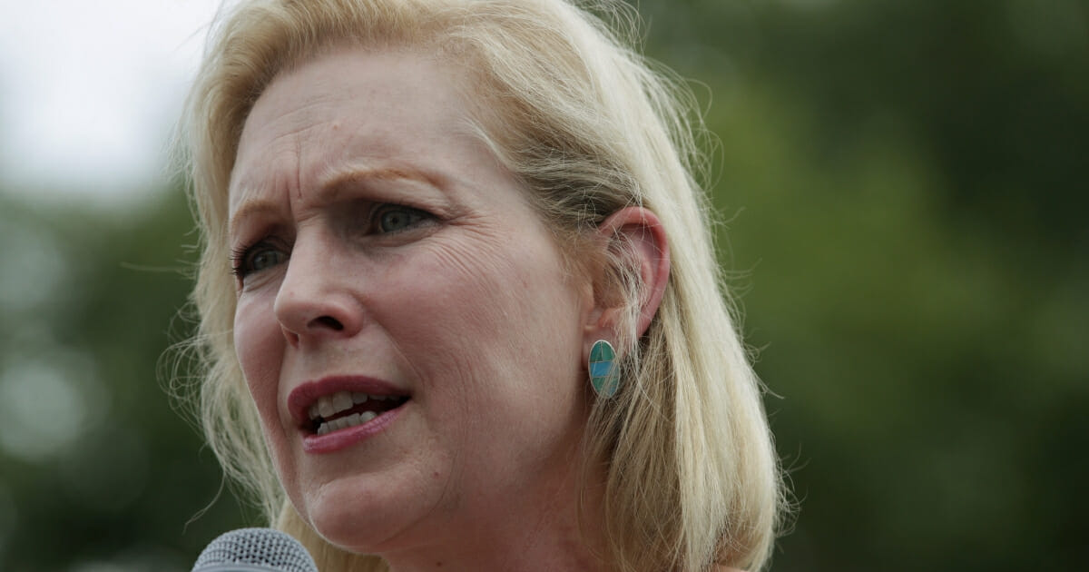 Then-Democratic presidential candidate U.S. Sen. Kirsten Gillibrand, D-New York, delivers a campaign speech at the Des Moines Register Political Soapbox at the Iowa State Fair.