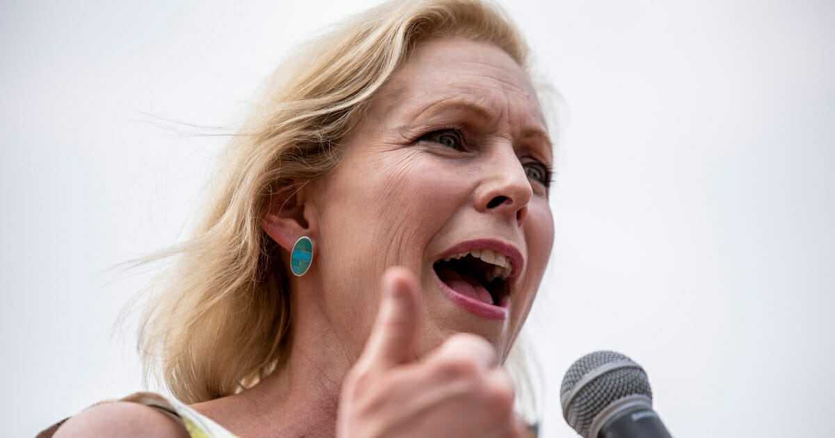 Democratic presidential candidate Sen. Kirsten Gillibrand (D-NY) speaks to a crowd at the Iowa State Fair on Aug. 10, 2019, in Des Moines, Iowa.