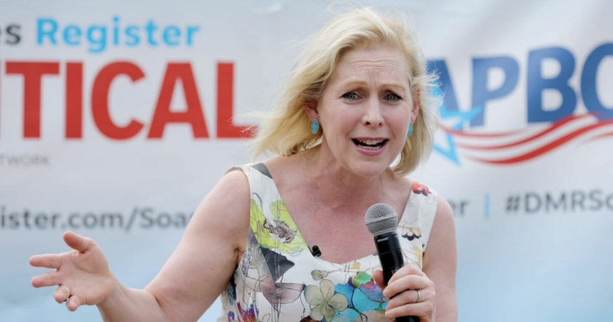 Democratic presidential candidate Sen. Kirsten Gillibrand delivers a campaign speech at the Iowa State Fair on Aug. 10, 2019, in Des Moines, Iowa.