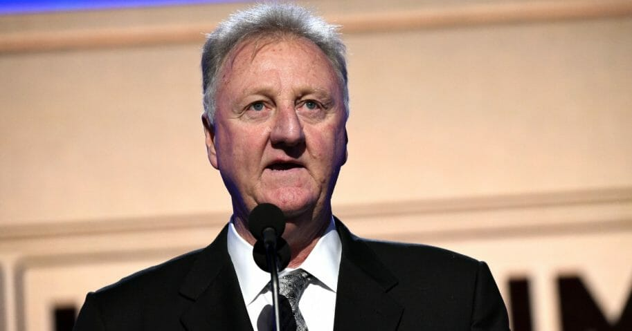 Larry Bird, winner of the Lifetime Achievement Award, speaks onstage during the 2019 NBA Awards presented by Kia on TNT at Barker Hangar on June 24, 2019, in Santa Monica, California.