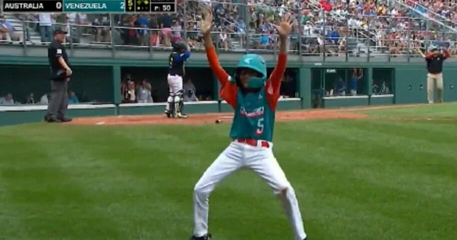 Venezuelan Little League player Deivis Ordonez shows off some dance moves Saturday during the game in Williamsport, Pennsylvania.