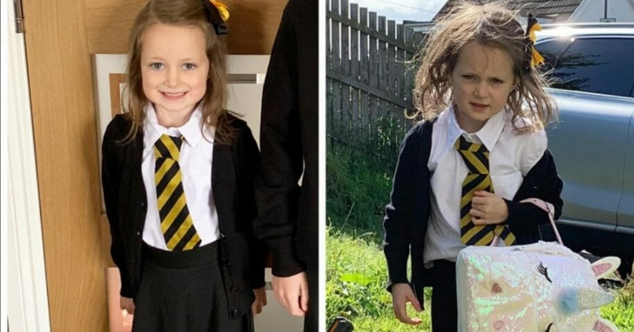 A hilarious side-by-side photo of a 5-year-old schoolgirl from Scotland is bringing joy and laughter to viewers around the globe.
