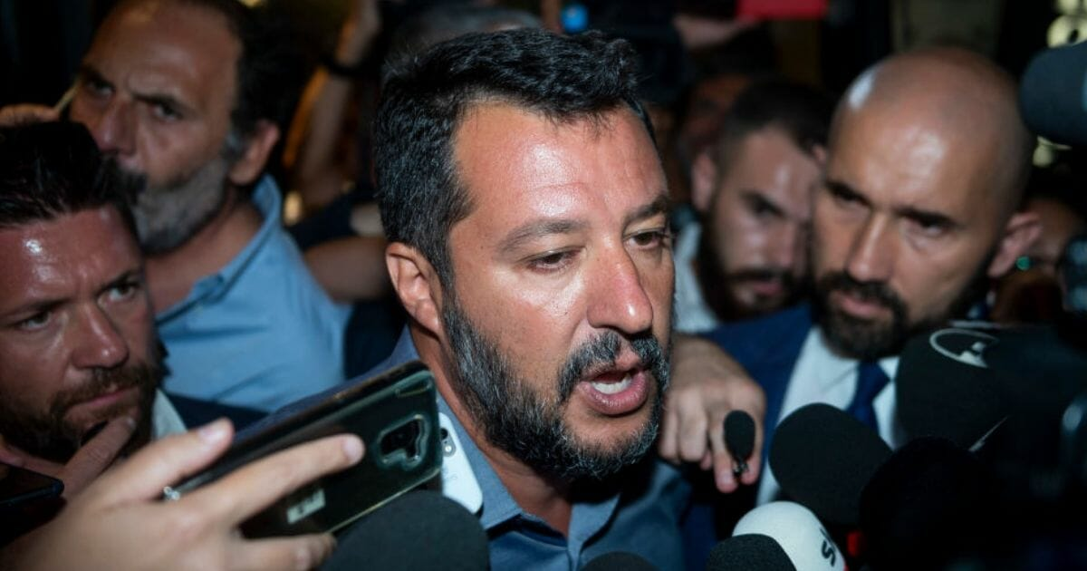 Italian Deputy Prime Minister and Interior Minister Matteo Salvini speaks to the media on Aug. 12, 2019, in Rome, Italy.