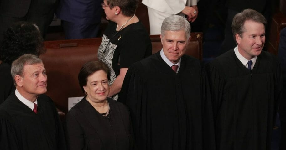 Supreme Court Justices John Roberts, Elena Kagan, Neil Gorsuch and Brett Kavanaugh observe as President Donald Trump delivers the State of the Union address on Feb. 5, 2019, in Washington, D.C.