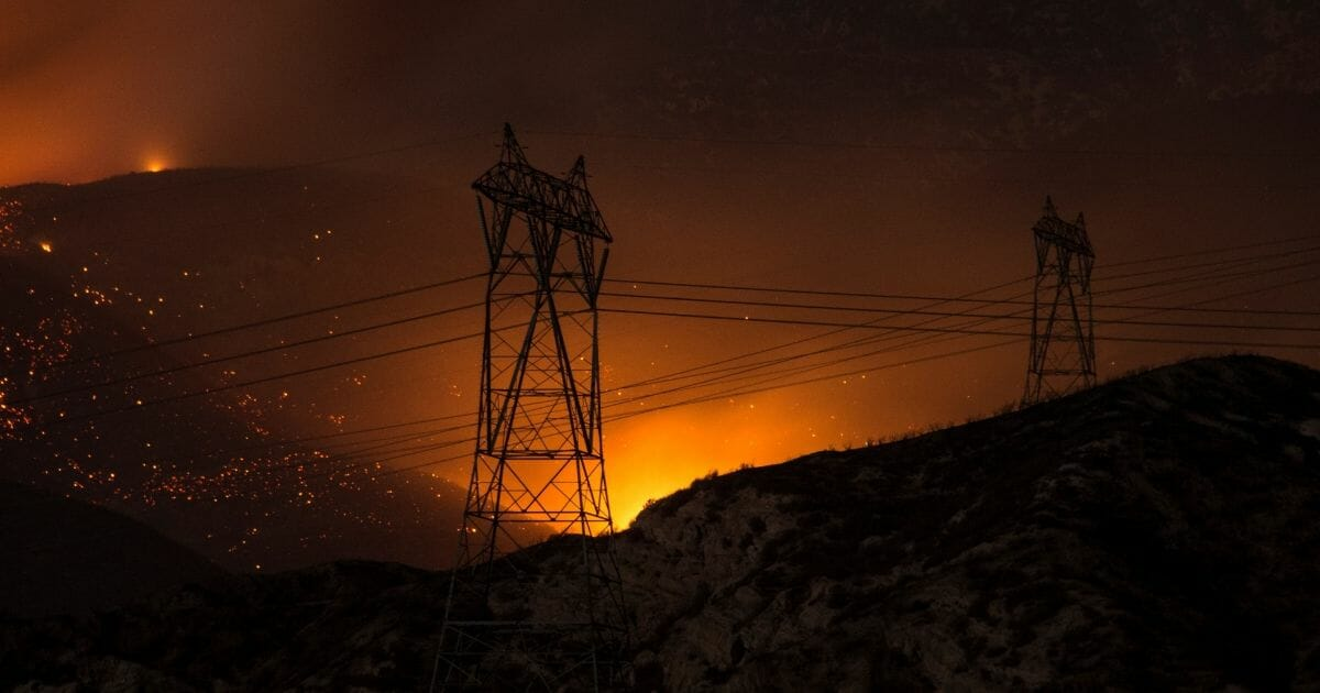 The Blue Cut Fire burns after sunset in the mountains near Wrightwood, California.