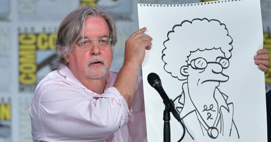 "Matt Groening at ""The Simpsons"" panel during 2019 Comic-Con International at San Diego Convention Center on July 20, 2019, in San Diego, California."