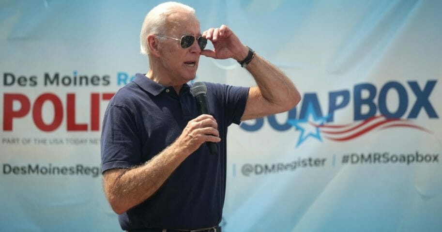 Former Vice President Joe Biden delivers a campaign speech at the Iowa State Fair last week in Des Moines.
