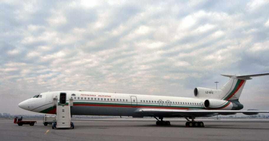 A Russian-built presidential Tupolev-154 jet at Sofia Airport in Bulgaria