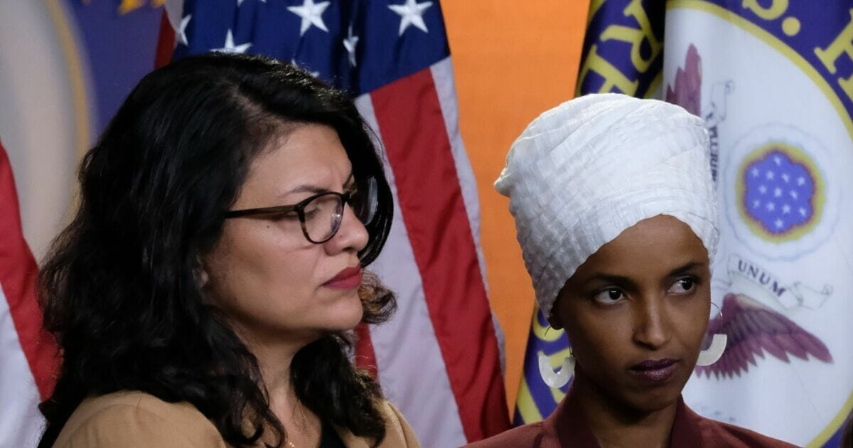 Democratic Reps. Rashida Tlaib of Michigan, left, and Ilhan Omar of Minnesota, at a news conference at the U.S. Capitol