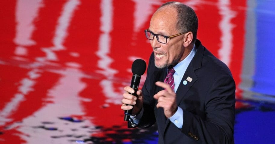 Democratic National Committee Chairman Tom Perez warms up the crowd before the Democratic primary debate in Detroit on July 31.