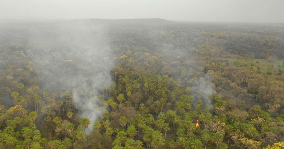 Smoke rises from the forest in Otuquis National Park in southeastern Bolivia on Aug. 26, 2019.