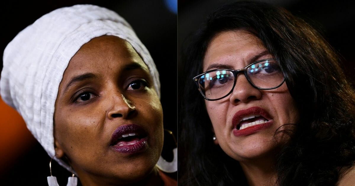 This combination of pictures created on Aug. 15, 2019, shows Democratic Representatives Ilhan Abdullahi Omar, left, and Rashida Tlaib during a news conference, to address remarks made by President Donald Trump on July 15, 2019.