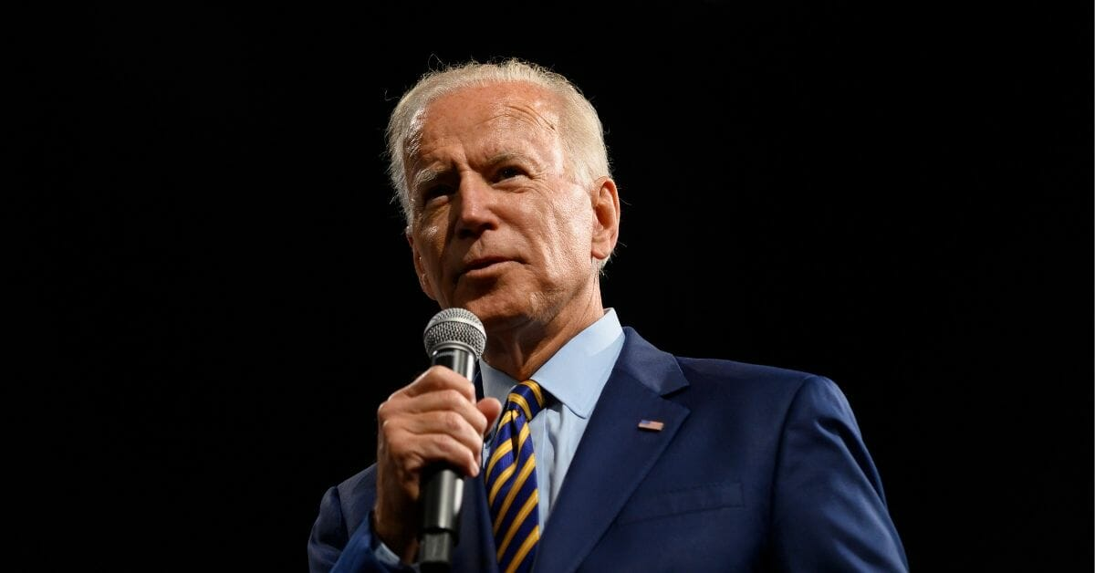 Democratic presidential candidate and former Vice President Joe Biden speaks on stage during a forum at the Iowa Events Center in Des Moines.