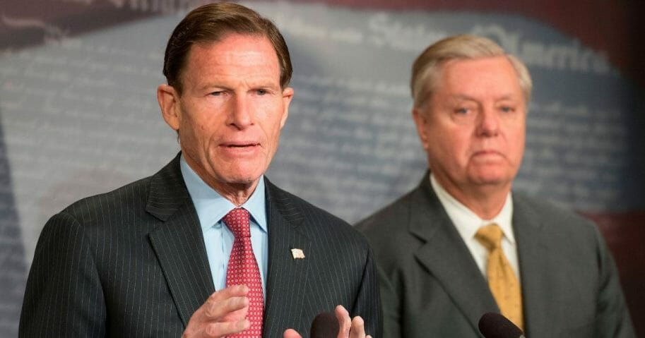 US Senator Lindsey Graham, right, and US Senator Richard Blumenthal, left, explain Extreme Risk Protection Orders on Capitol Hill in Washington, DC, on March 8, 2018.