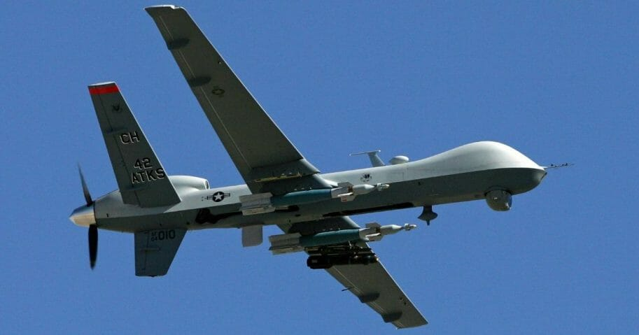 An MQ-9 Reaper flies by August 8, 2007, at Creech Air Force Base in Indian Springs, Nevada.