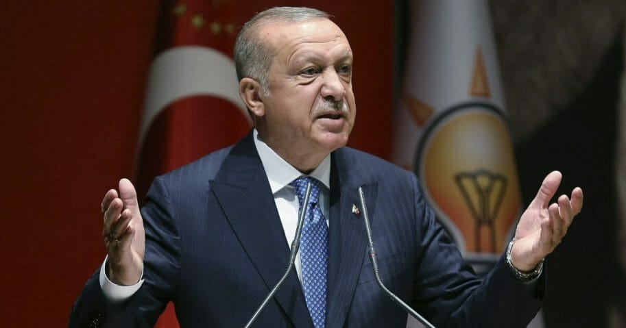 Turkey's President Recep Tayyip Erdogan addresses his ruling party members, in Ankara.