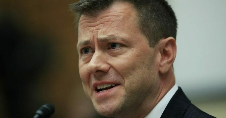 "In this July 12, 2018, file photo, then-FBI Deputy Assistant Director Peter Strzok, testifies before a House Judiciary Committee joint hearing on ""oversight of FBI and Department of Justice actions surrounding the 2016 election"" on Capitol Hill in Washington."