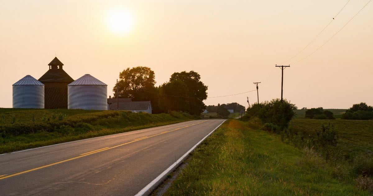 Open road in the rural Midwest.