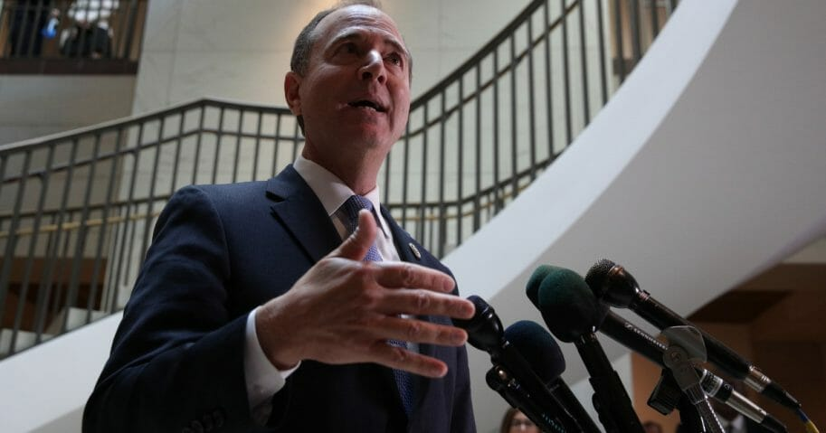 House Intelligence Committee Chairman Rep. Adam Schiff (D-California) speaks to members of the media after Intelligence Community Inspector General Michael Atkinson met behind closed doors with the committee at the U.S. Capitol on Sept. 19, 2019, in Washington, D.C.