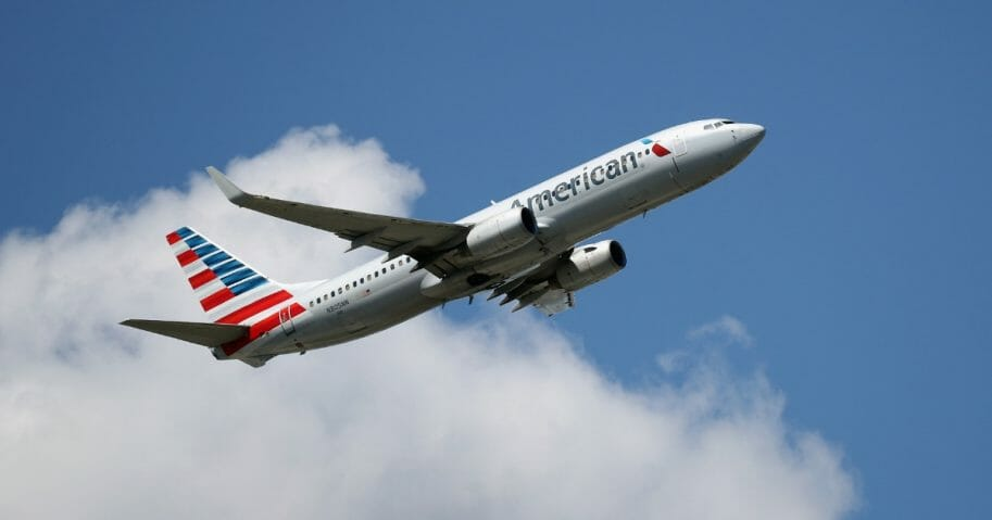 A Boeing 737-A23 operated by American Airlines takes off from JFK Airport on Aug. 24, 2019, in the Queens borough of New York City.
