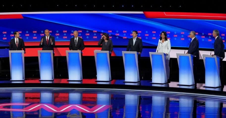 Democratic presidential candidates participate in a debate at the Fox Theatre in Detroit on July 31, 2019.