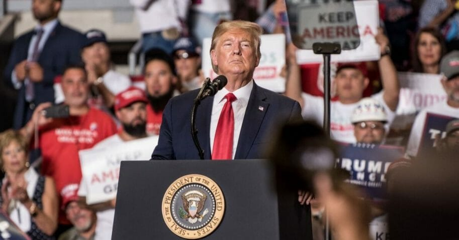 President Donald J. Trump speaks during his Keep America Great Rally on Sept. 16, 2019, at the Santa Ana Star Center in Rio Rancho, New Mexico.