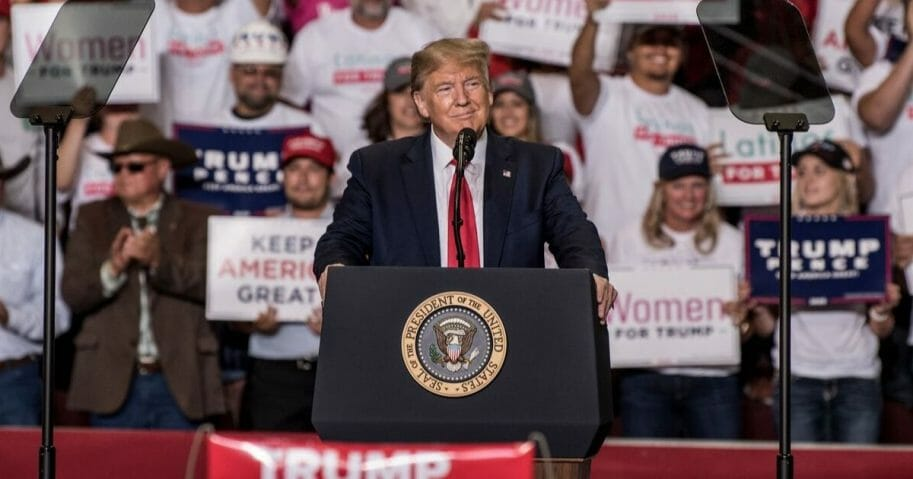 President Donald Trump speaks during a rally Sept. 16, 2019, at the Santa Ana Star Center in Rio Rancho, New Mexico.