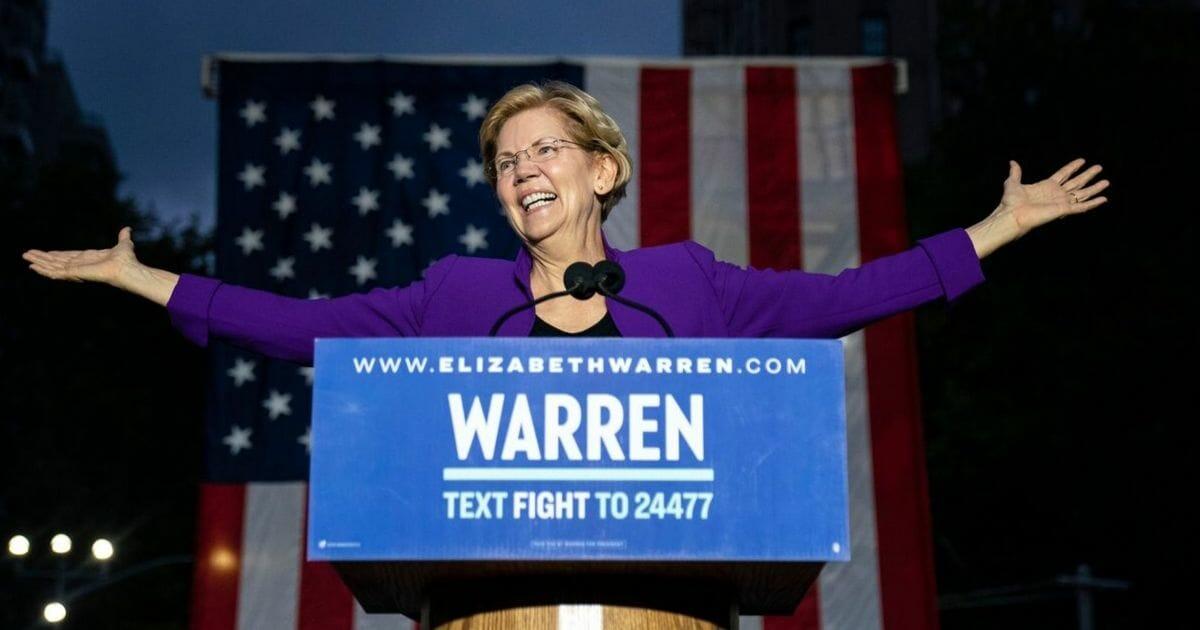2020 Democratic presidential candidate Sen. Elizabeth Warren (D-Massachusetts) arrives for a rally in Washington Square Park on Sept. 16, 2019, in New York City.