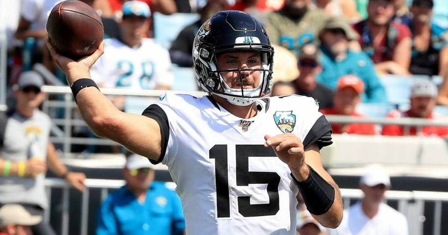 Gardner Minshew of the Jacksonville Jaguars attempts a pass against the Kansas City Chiefs on Sept. 8, 2019, at TIAA Bank Field.