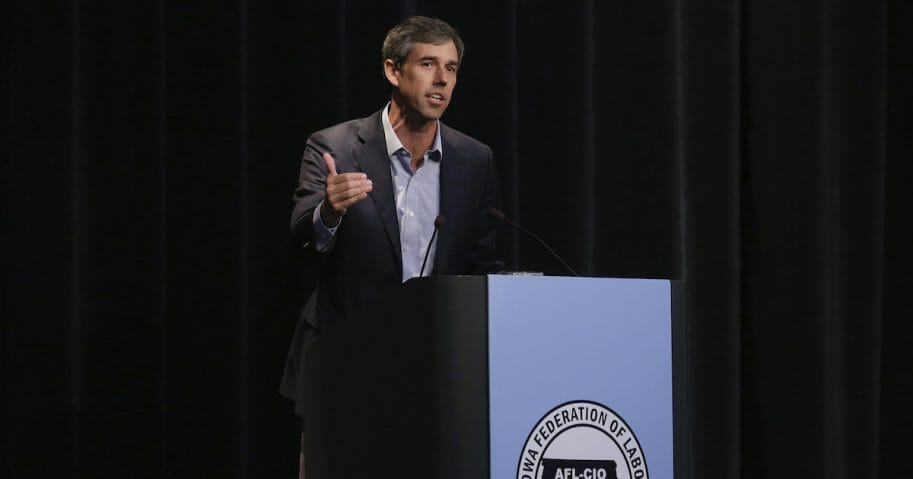 Beto O'Rourke speaks in Iowa.