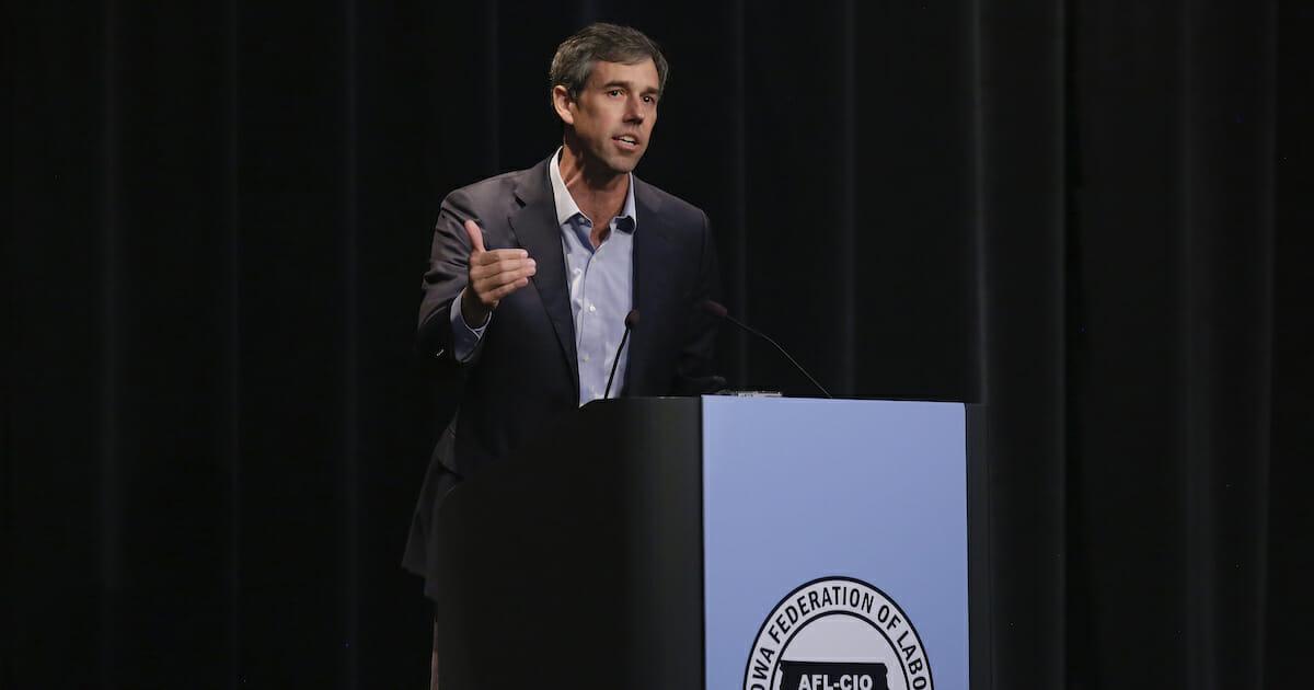 Beto O'Rourke speaks in Iowa.