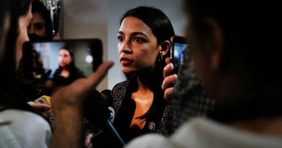 Alexandria Ocasio-Cortez speaks at an event in New York last week.