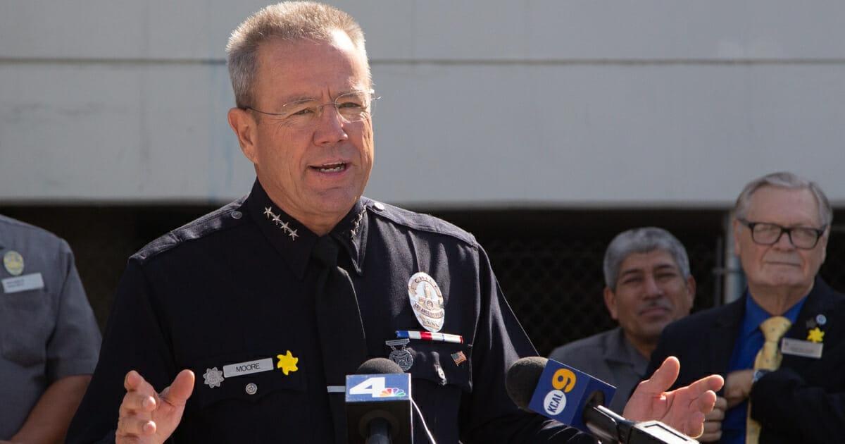 Los Angeles Police Chief Michel Moore speaks in Universal City on Sept. 18, 2019.