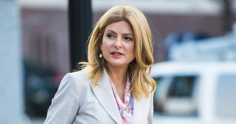 Civil rights attorney Lisa Bloom is seen around the Montgomery County Courthouse during the third day of Bill Cosby's sexual assault charges on April 11, 2018, in Norristown, Pennsylvania.