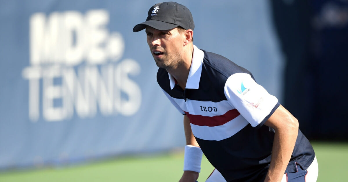 Mike Bryan, playing with his brother, Bob, prepares for a shot during the Citi Open.