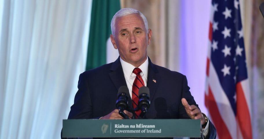 Vice President Mike Pence holds a news conference with Taoiseach Leo Varadkar at Farmleigh House on Sept. 3, 2019, in Dublin, Ireland.
