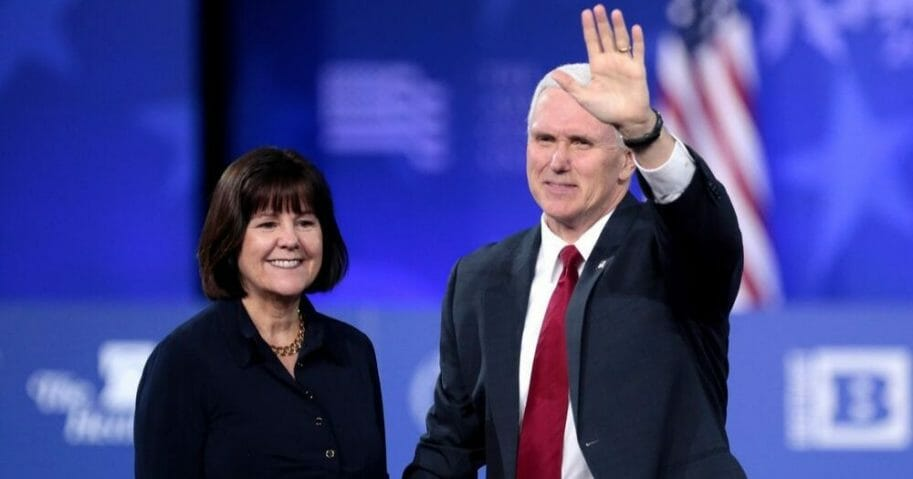 Vice President Mike Pence and his wife, Karen, appear at the 2017 Conservative Political Action Conference in National Harbor, Maryland.