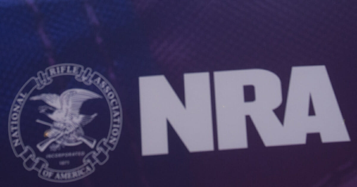The National Rifle Association's logo is seen during the annual Conservative Political Action Conference at National Harbor in Oxon Hill, Maryland, on March 3, 2016.