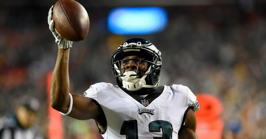 Nelson Agholor of the Philadelphia Eagles celebrates his touchdown against the Washington Redskins at FedEx Field.