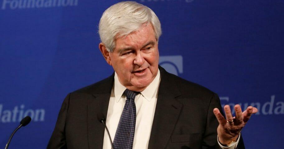Former Speaker of the House Newt Gingrich speaks.