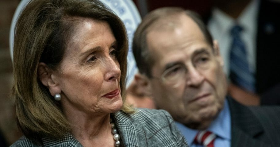 Democratic House Speaker Nancy Pelosi of California and Judiciary Committee Chairman Jerrold Nadler of New York look on during a news conference March 20, 2019, in New York City.