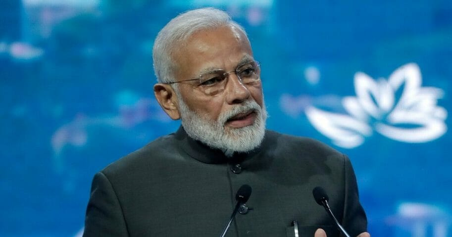 Indian Prime Minister Narendra Modi speaks at a plenary session of Eastern Economic Forum at far-eastern Russian port of Vladivostok on Sept. 5, 2019.