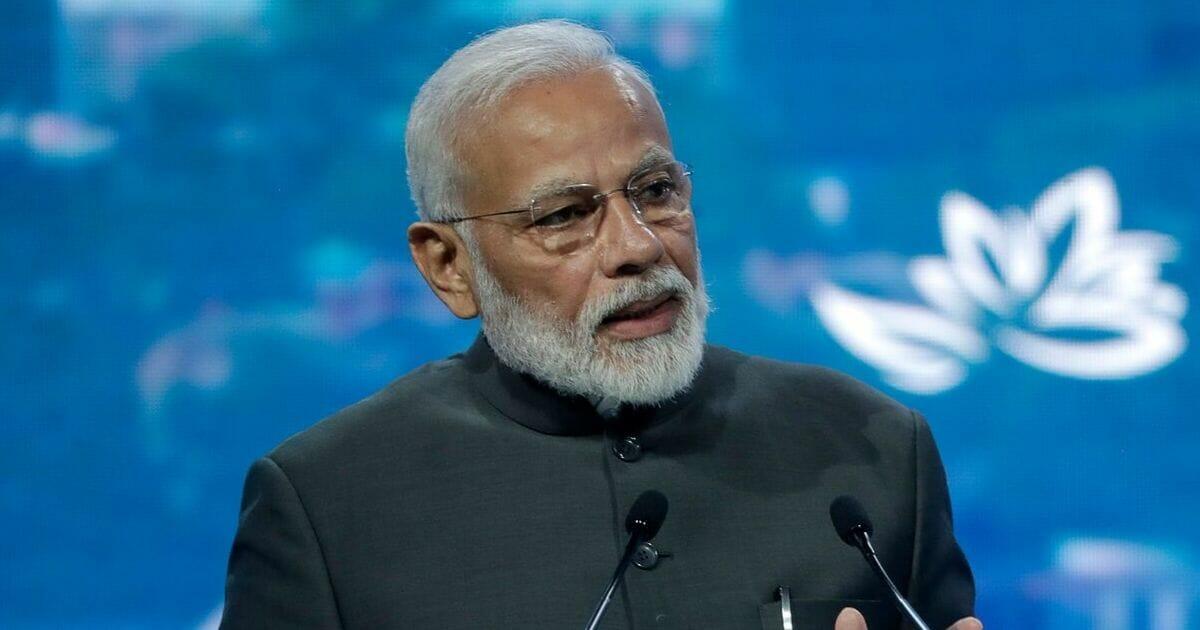 Indian Prime Minister Narendra Modi speaks at a plenary session of Eastern Economic Forum at far-eastern Russian port of Vladivostok on Sept. 5, 2019.